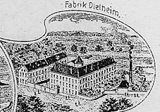 Stich der Fabrik um 1900 (Ausschnitt aus der Postkarte)