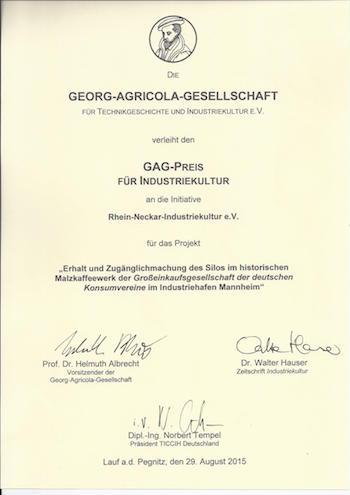Urkunde der Georg-Agricola-Gesellschaft