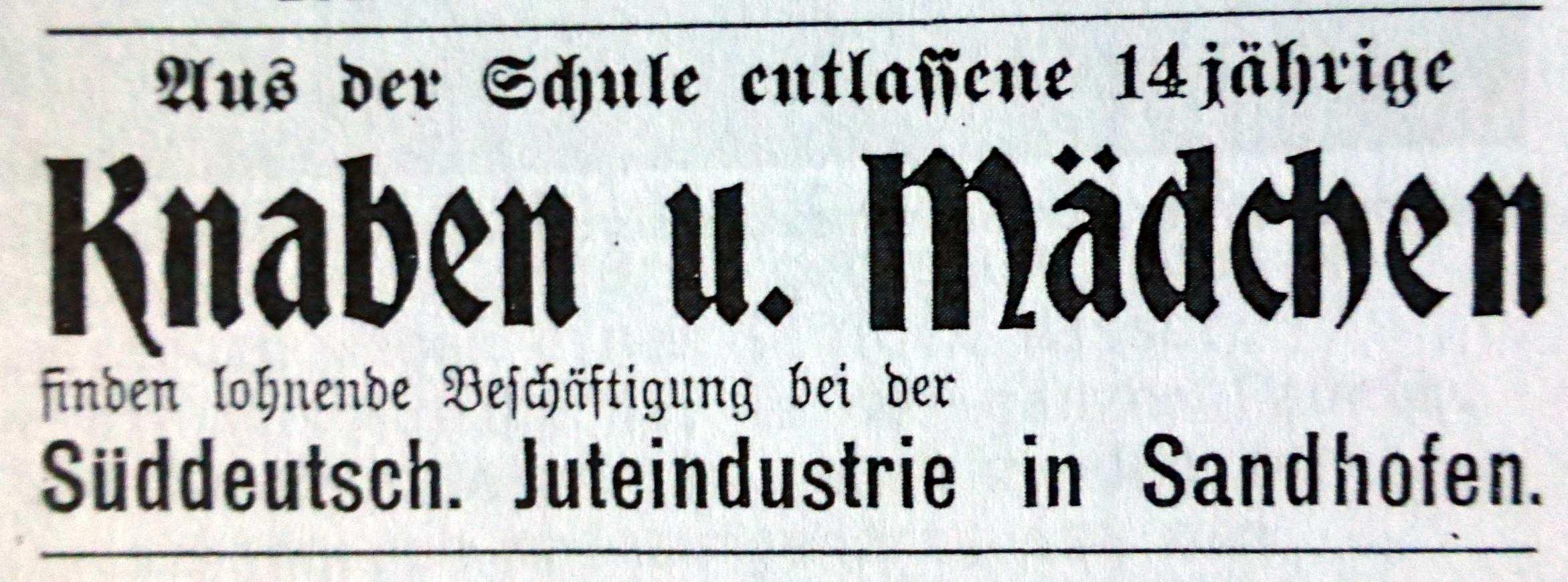 Anzeige von 1909 (Foto aus Heierling)