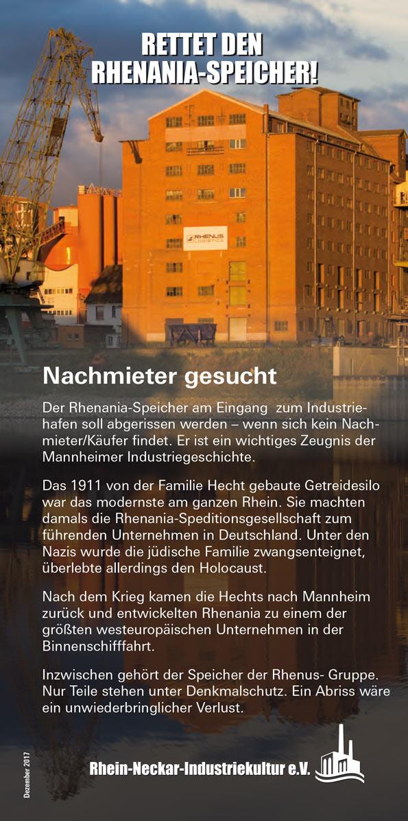 Flugblatt zum Rhenania-Speicher
