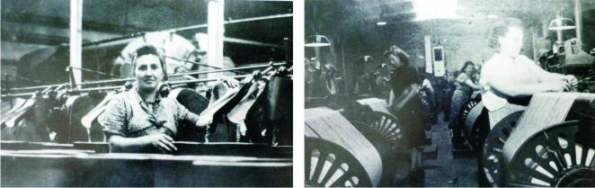 In der Weberei und Knoddle -Zusammenknoten der Fäden  in der Spulerei (Fotos aus Heierling)