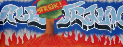 Graffiti zum Streik bei Eichbaum
