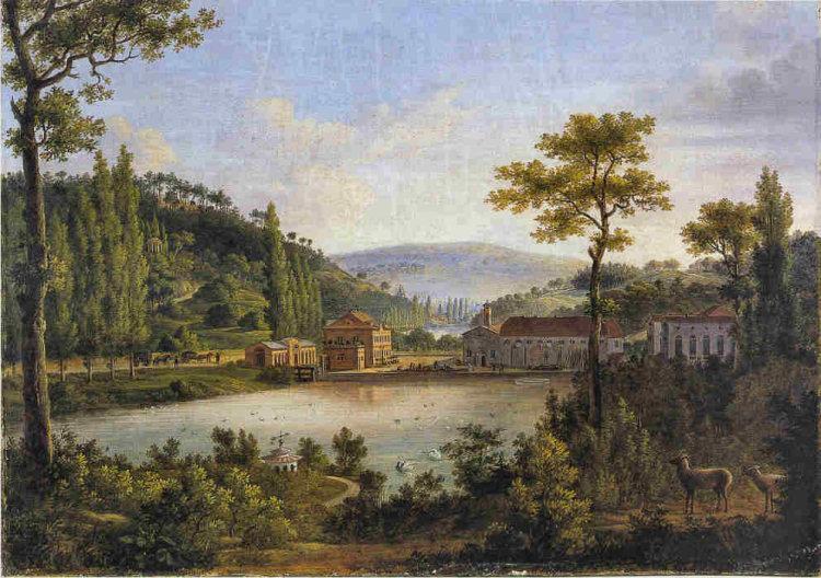 Auf vielen historischen Darstellungen ist der Park, Weiher, Herrenhaus und Werk zu sehen