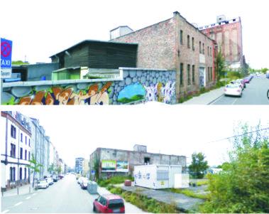 Brache und baufällige Halle um 2010 in der Hafenstraße (Fotos googel-streetview)